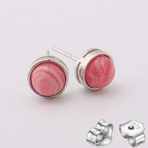 Shangwang - Pendientes de plata de ley 925 con diseño de flor de tigre, cuarzo rosa