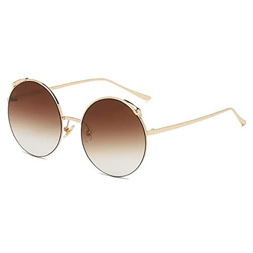 WJJ Gafas De Sol De Moda, Gafas De Sol Gradiente para Mujer, Gafas Redondas Retro, Almohadillas Nasales Cómodas, Marco De Metal para Ocio, Fiesta En La Playa,Latón