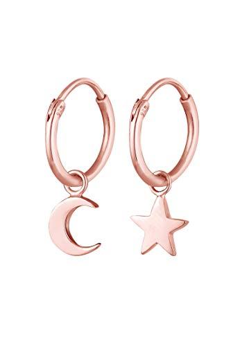 Elli Pendientes Creoles Estrella Media Luna Astro Trend en 925 Plata de Ley