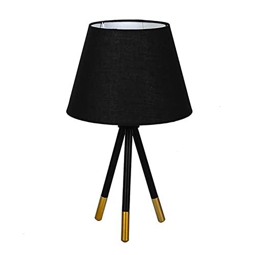 luckxuan Lámpara de Mesa Lámparas de Escritorio Lámpara de Cama Lámpara de Tela Negra Lámpara de Mesa LED Lámparas para Habitaciones de Habitaciones Oficina de Hotel Lámpara de Cabecera