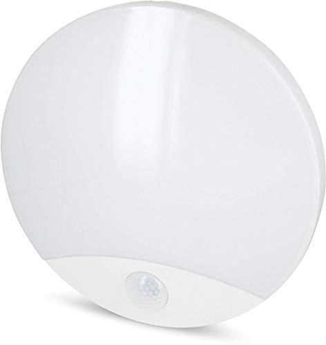 LED 10W IP44Luminaria de techo Sensor–Lámpara de pared con detector de movimiento y sensor crepuscular–Transformador led integrado–Blanco Cálido (3000K)
