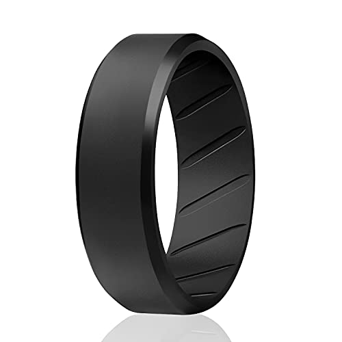 ROQ Silicone Rings, Breathable Silicone Rubber Wedding Ring Band for Men with Comfort-Fit Design, 8mm Beveled Duo, Single - Black Color - Size 9