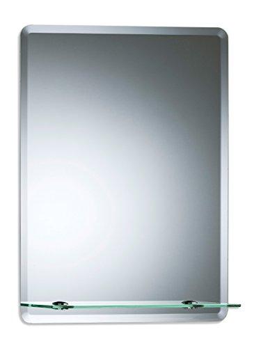 Neue Design Schöner rechteckiger Badezimmerspiegel mit Ablage, modern und stylish, mit abgerundeten Kanten, Wandbefestigung, Badspiegel, Wandspiegel, Spiegel 50cm X 40cm