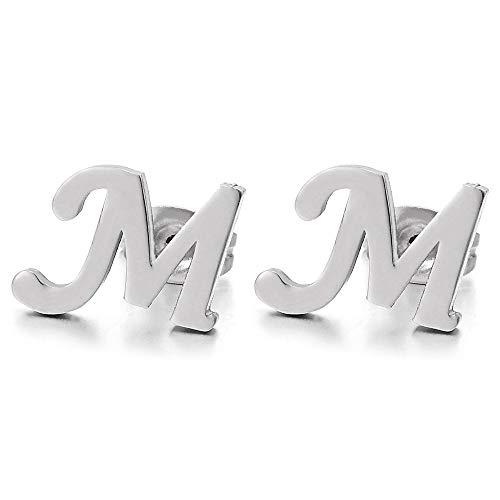 Letra del Alfabeto Nombre Inicial M Pendientes de Hombres Mujer Muchachos Niños Niñas, Acero Inoxidable, 2 Piezas