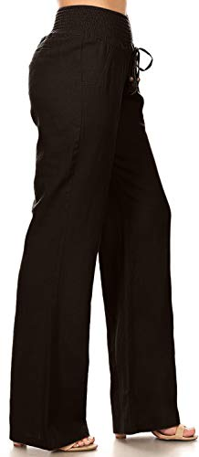 April Apparel Inc. Via Jay Women's Casual Relaxed-Fit Wide Leg High Waist Pants (Medium, Black)