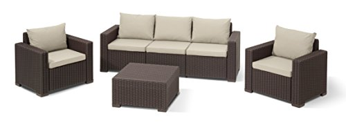 Allibert Lounge Sessel California 2er Set mit Kissen, braun/panama taupe - 5