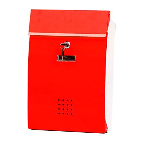 Wandgemonteerde brievenbus, grote ruimte, afsluitbare doos met vergrendelingsdeksel en 2 sleutels, weerbestendige brievenbus, eenvoudig te monteren, hoogwaardig gegalvaniseerd blad Rood