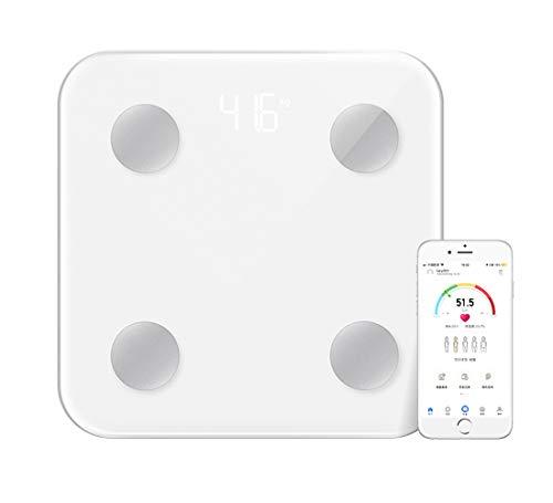 TSEC Escala de grasa corporal inteligente IMC baño balanza de peso Bluetooth plataforma de vidrio templado grande LED pantalla oculta aplicación para smartphone 396lbs/180kg - blanco