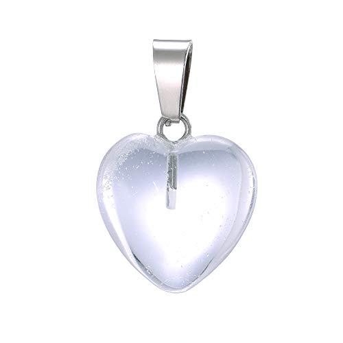 aqasha Bergkristall Herzkette Damen- Anhänger Halskette - Schmuck der Liebe Herzform - Edelstein (1,6x1,6 cm)