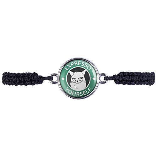 Mylery Armband mit Motiv Expresso Yourself Katze Silber 16mm