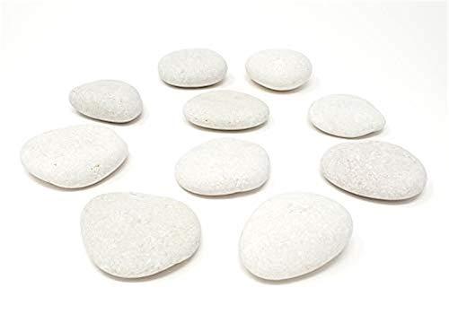 Chiloskit Piedras blancas para pintura, 10 grandes rocas, piedras planas lisas de 5 a 8,9 cm, piedras para manualidades para pintura de roca, piedras bonitas, recuerdos de pintura