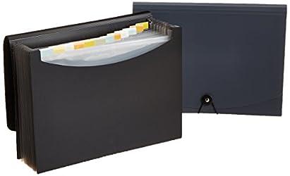 AmazonBasics Expanding Organizer File Folder, Letter Size - Black/Gray (2-Pack)
