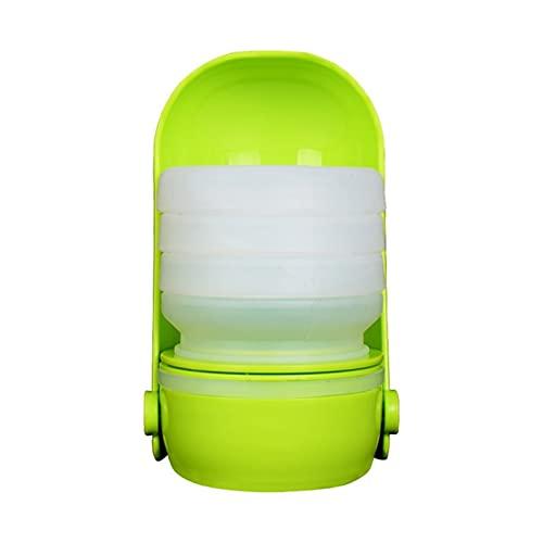 WUBZSHI Hundewasserflasche Hundekatze Silikon Tragbare Wassergetränk Haustier Lebensmittel Wasser Fütterung Becher Wasserspender sparen Space Pet Flasche Multifunktional (Color : GN)