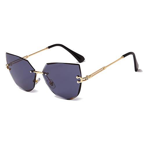 QSCTYG Gafas De Sol Mujer Gafas de Sol sin Montura Lujo Metal Metal Gafas de Sol Moda Lady Shades 268 (Lenses Color : 06)