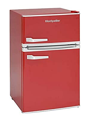 Montpellier MAB2031R Red Under Counter Retro Fridge with Icebox Freezer