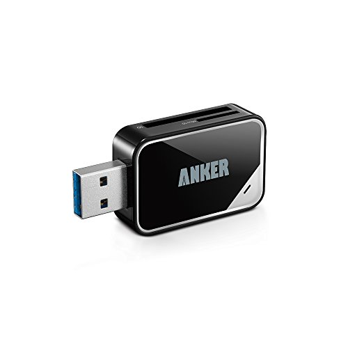 Anker USB 3.0 SD/TF Speicherkartenleser, 2 Steckplätze, Kartenlesegerät für SDXC, SDHC, SD, MMC, RS-MMC, Micro SDXC, Mikro-SD, Micro SDHC Karte, unterstützt UHS-I Karten
