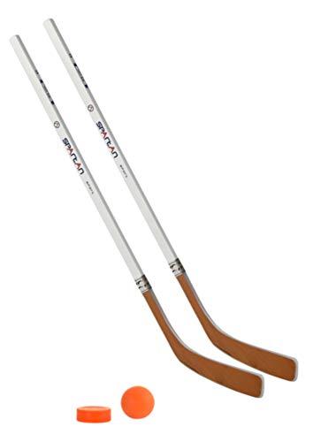 Unbekannt Streethockeyschläger-Set Kids 2: 2 Vancouver-Schläger 95cm gerade Kelle & Ball und Puck orange
