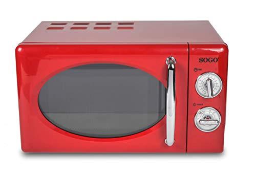 SOGO SS-890-R - Microondas Estilo Retro, Microondas Vintage con Capacidad de 20 Litros, 5 Potencias, 700 Watts - Color Rojo