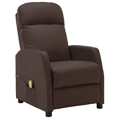 vidaXL Massagesessel mit Heizung TV Sessel Fernsehsessel Relaxsessel Polstersessel Ruhesessel Liegesessel Ledersessel Braun Kunstleder