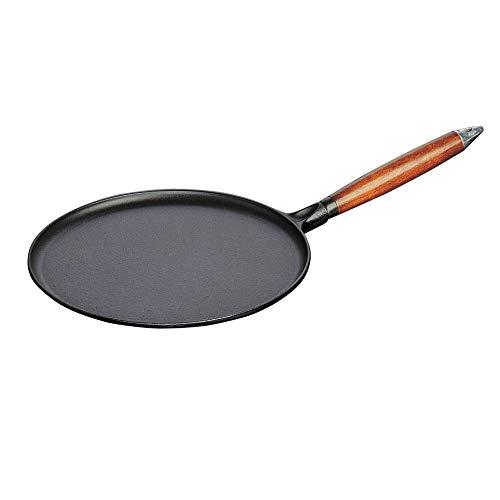 Staub 40509-525-0 pannenkoekenpan, met houten handvat, rond 28 cm, met matzwart geëmailleerd binnenin de pan, inclusief 1 verdeler en 1 spatel, zwart