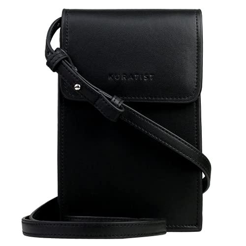 Kuratist Bolso pequeño para mujer, de microfibra de poliuretano, para el teléfono móvil, cartera, mini bolso de hombro, color Negro, talla 0.5 Liter