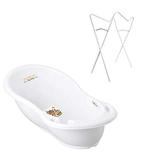Tega Baby ® baignoire ergonomique 86cm SET 3 picces avec cadre pliant + tuyau d'évacuation de l'eau avec bouchon et thermomctre baignoire bébé 0-12 mois, Motif: Cerf - blanc, Stand: Blanc
