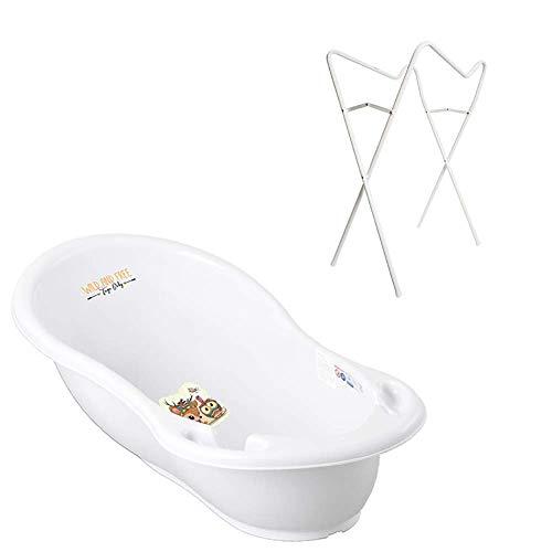 Tega Baby ® baignoire ergonomique 86cm SET 3 picces avec cadre pliant + tuyau d'évacuation de l'eau avec bouchon et thermomctre...