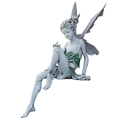 Fenteer Estatua de Hada Sentado Patio Estanque Fuente Decorativa Hada con ala estatuilla césped nórdico Mano Tallada Escultura paisajismo Ornamento Artes - Blanco