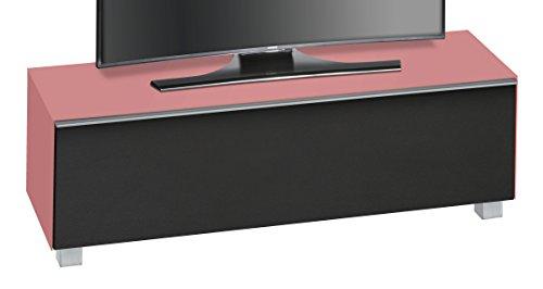 MAJA Möbel 7736 4973 Soundboard,  Glas Hibiskus matt / akustikstoff schwarz, Abmessungen 140,20 x 43,30 x 42 cm