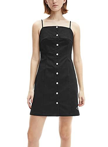 Calvin Klein Jeans Cotton Twill Button Dress Vestido, CK Negro, XS para Mujer