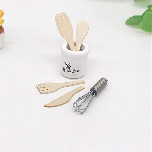 witgift Dollhouse Accessories Tableware Set Miniature Cookware Accessories Mini Eggbeater Wooden Knife Fork Spoon Kitchen Home Garden Furniture Decoration