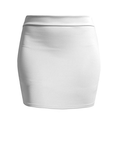 NE PEOPLE Women's Stretch Knit Bodycon Mini Pencil Skirt Made in USA White