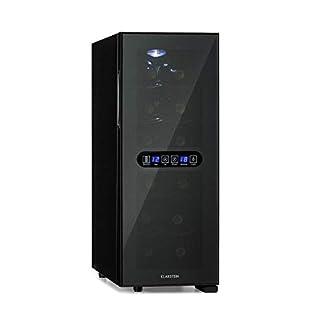 Klarstein-Bellevin-Duo-Weinkuehlschrank-2-Zonen-EEK-A-12-Flaschen-33-Liter-unten-8-18-Coben-12-18-C-thermoelektrisch-38-dB-verspiegelte-schwarze-Glastuer