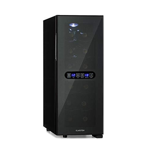 Klarstein Bellevin Duo - Weinkühlschrank, 2 Zonen, EEK A, 12 Flaschen / 33 Liter, unten: 8-18 °C/oben: 12-18 °C, thermoelektrisch, 38 dB, verspiegelte, schwarze Glastür, schwarz