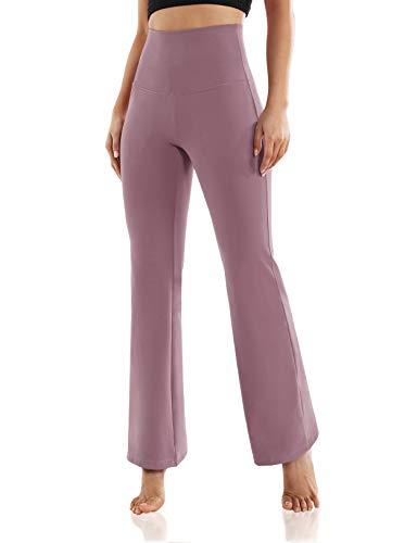 ODODOS Women's High Waist Boot-Cut Yoga Pants Tummy Control Workout Non See-Through Bootleg Yoga Pants, Lavender, X-Large