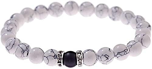 Pulsera de buena suerte Pulsera de piedra, mujer, 7 chakra 8mm perlas naturales plata circular círculo blanco turquesa elástico brazalete joyería reza yoga energía reiki encanto regalo para pareja Un