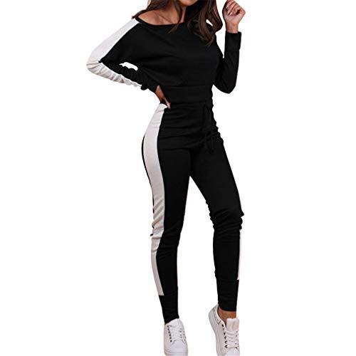hibote Abbigliamento Sportivo Donna Tuta Sportiva Morbida Comoda Fitness Yoga Tute Pullover a Maniche Lunghe Pantaloni 2 Pezzi Vestiti Set Felpa + Sportiva Pantaloni S-XL