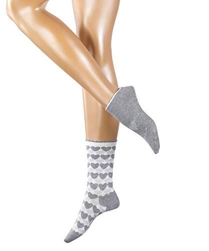 ESPRIT Damen Socken Mixed Hearts - 80% Baumwolle, 1 Paar, Grau (Light Grey 3400), Größe: 36-41