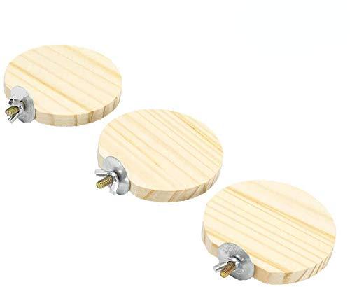 GNB PET 3 Pack Wooden Round Parrot Station Board Wood Platform Stand Rack Suit for Hamster Gerbils