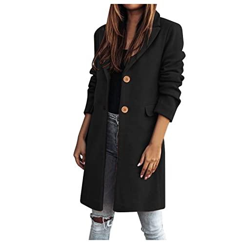 SHOBDW Abrigo Gabardina de Lana Mujer Barato Chaqueta para Mujer Invierno 2021 Nuevo Sólido Solapa Abrigo Larga Fiesta Vestir Mujer Joven Jacket Talla Grande Elegante Parkas Descuento(Negro,L)