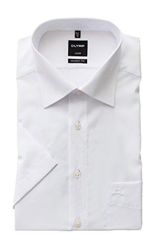 OLYMP Hemd Halbarm Luxor, Weiß, Modern Fit, Bügelfrei, Knitterfrei, 100% Baumwolle, New Kent Kragen, Kurzarm 1/2 (44)