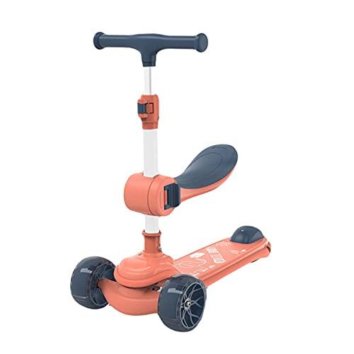 Patada scooters 2-en-1 Patear Scooter 3 Ruedas Para Niños Con Asiento Plegable / Extraíble 4 Altura Ajustable Para Niñas Y Niños De 3 A 12 Años Sistema de plegado de liberación rápida ( Color : Pink )