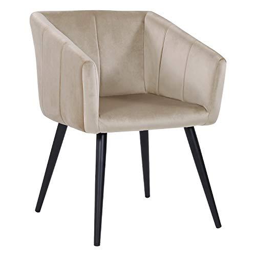 Esszimmerstuhl aus Stoff (Samt) Farbauswahl Retro Design Stuhl mit Rückenlehne Sessel Metallbeine Duhome 8065, Farbe:Beige, Material:Samt