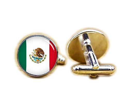 Beautiful Dandelion Manschettenknöpfe Flagge von Mexiko, mexikanische Flagge, Patriot-Manschettenknöpfe
