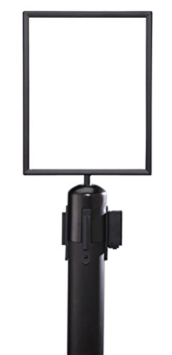 """ComeAlong Industries Heavy Duty Black Vertical Sign Frame with Black Post Belt Top Adapter, 8.5"""" Width x 11"""" Height"""