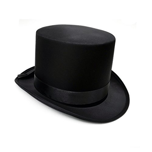 Black Top Hat Satin Finish Magicians, Ringmasters, Showman, Costume accessory