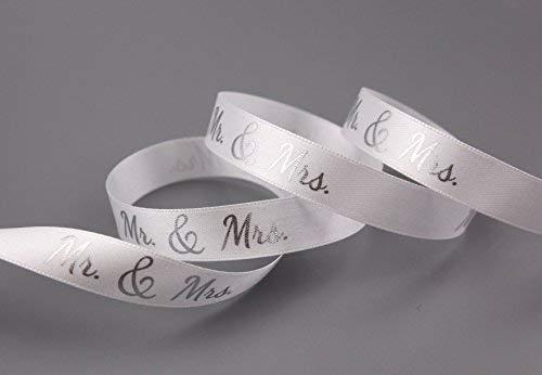 Dekoband Mr & Mrs Weiss Silber 3 m x 15 mm Geschenkband Hochzeit Wedding Satinband für Hochzeitsgeschenk Hochzeitsalbum Schleifenband