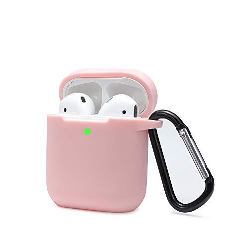 Airpods Schutzhülle Hülle Kompatibel mit AirPods 2 und 1, KOKOKA Silikon AirPods Schutzhülle hülle [LED an der Frontseite Sichtbar][Stoßfeste Schutzhülle] Rosa
