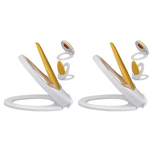 vidaXL 2x Toiletbril met Soft-closedeksel Kunststof Wit en Geel Wc-bril
