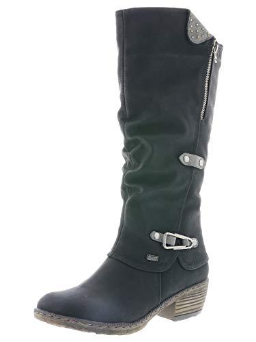 Rieker Damen Stiefel 93752, Frauen Winterstiefel,riekerTEX, Woman Freizeit leger Winter-Boots langschaftstiefel warm,schwarz,41 EU / 7.5 UK